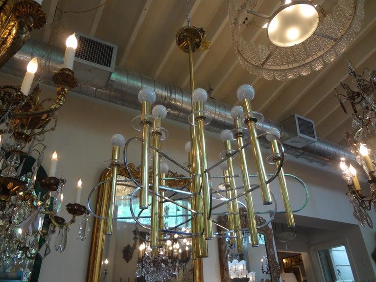 Italian Gaetano Sciolari Brass and Chrome Chandelier For Sale 2