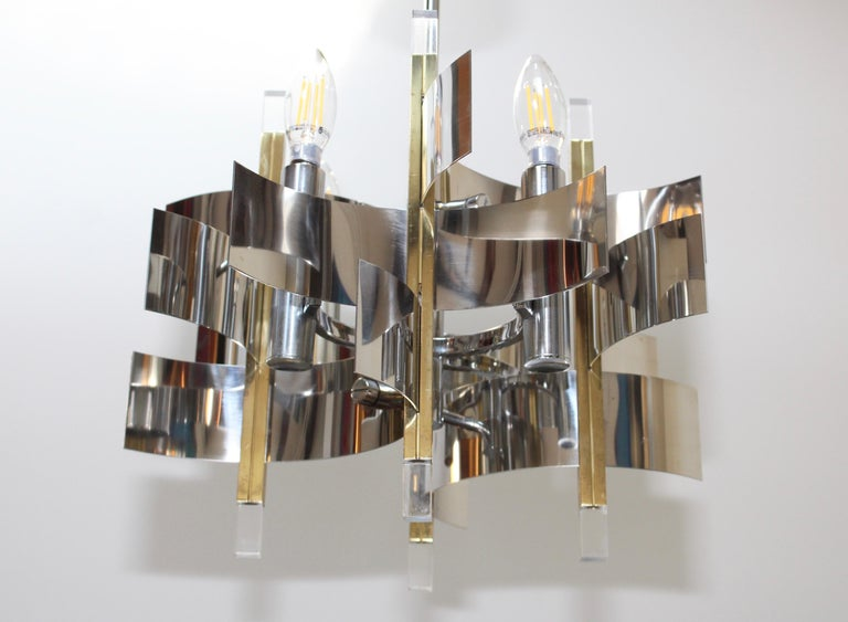 Gaetano Sciolari Brass and Chrome Chandelier For Sale 2