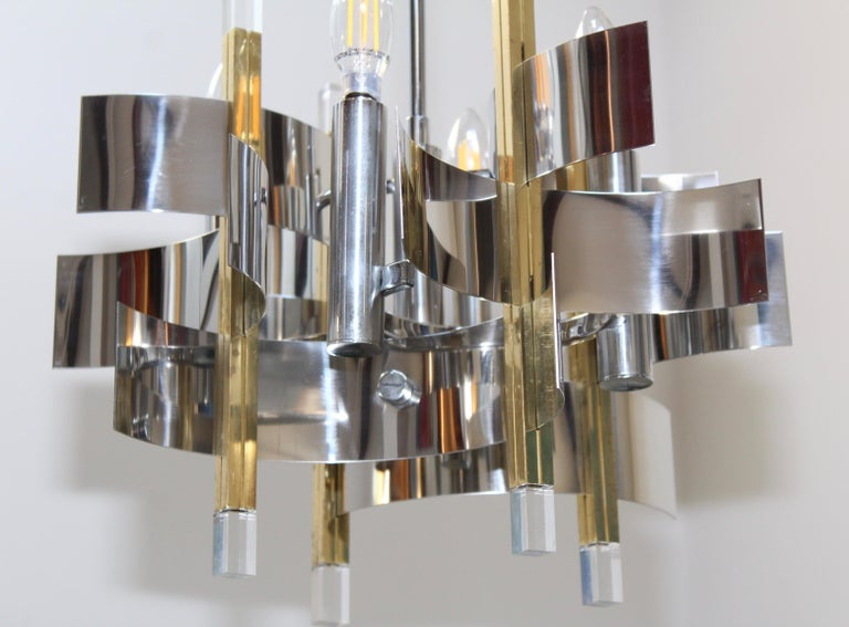 Gaetano Sciolari Brass and Chrome Chandelier For Sale 3