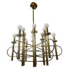 Gaetano Sciolari Brass and Chrome Chandelier