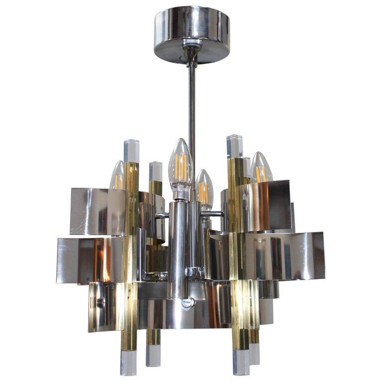 Gaetano Sciolari Brass and Chrome Chandelier For Sale