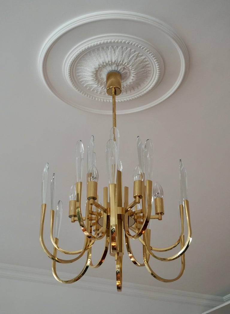 Hollywood Regency Gaetano Sciolari Brass and Crystal Prism Chandelier Vintage, Italian For Sale
