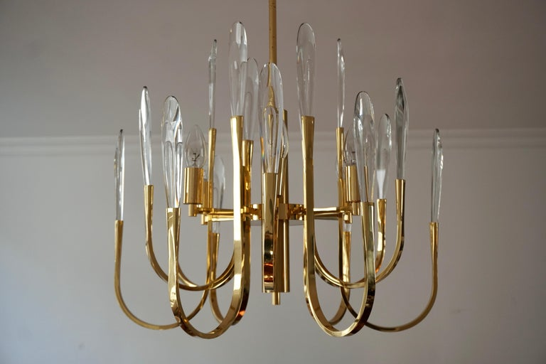 20th Century Gaetano Sciolari Brass and Crystal Prism Chandelier Vintage, Italian For Sale