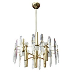 Gaetano Sciolari Brass and Crystal Prism Chandelier Vintage Italian