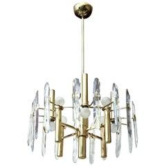 Gaetano Sciolari Brass and Crystal Prism Chandelier Vintage, Italian