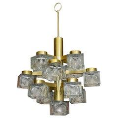 Gaetano Sciolari Brass and Cube Glass Chandelier Vintage