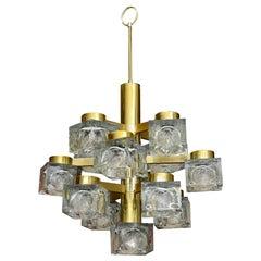 Gaetano Sciolari Brass and Cube Glass Chandelier Vintage Italian