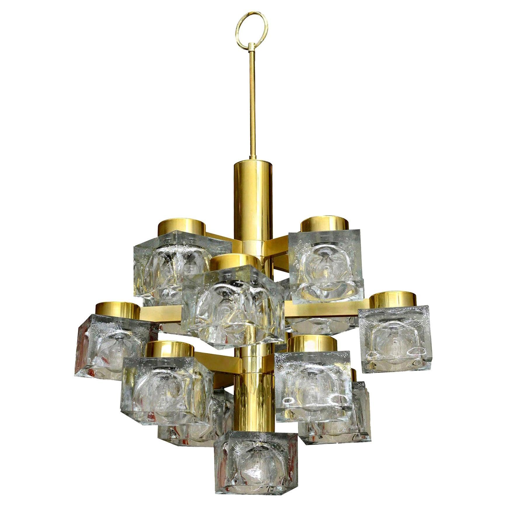 Gaetano Sciolari Brass and Cube Glass Chandelier Vintage, Italian
