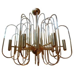 Gaetano Sciolari Brass and Glass Chandelier