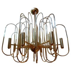 Gaetano Sciolari Brass and Glass Chandelier