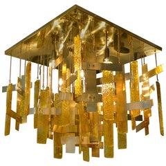Gaetano Sciolari Brass and Murano Glass Flush Mount Ceiling Fixture, Italy 1960s