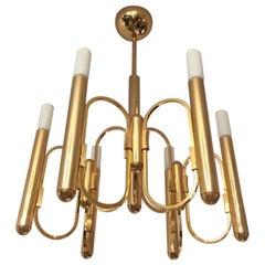 Gaetano Sciolari Brass Chandelier, Italy, 1970s