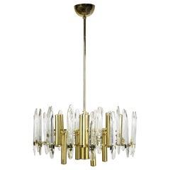 Gaetano Sciolari Brass Chandelier with Crystal Ornaments, 1960 Italy