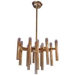 Gaetano Sciolari, Brass Midcentury Italian Ceiling Lamp, 1970