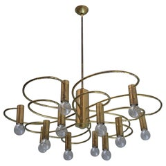 3x Brass Gaetano Sciolari Twelve-Light Chandelier, Italy, 1960s