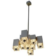 Gaetano Sciolari Brushed Steel and Murano Glass Cubic Italian Chandelier, 1970