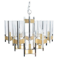 Gaetano Sciolari Chandelier Glass Nickel Brass, Italy, circa 1960