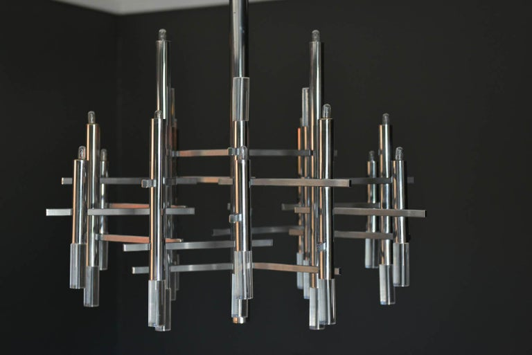 Italian Gaetano Sciolari Chrome and Lucite Chandelier, circa 1970 For Sale