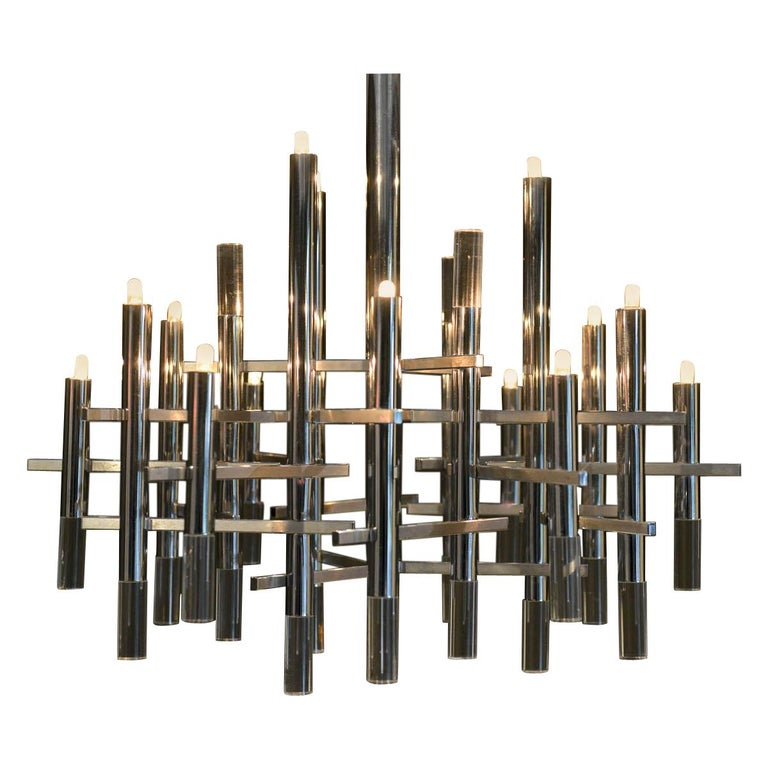 Gaetano Sciolari Chrome and Lucite Chandelier, circa 1970 For Sale