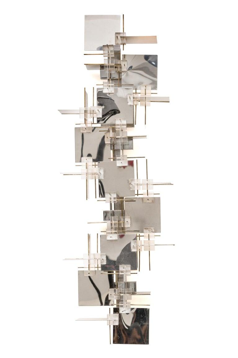 Mid-Century Modern Gaetano Sciolari Chrome Panel and Lucite Cube Geometric Sconces, Italy 1960s For Sale