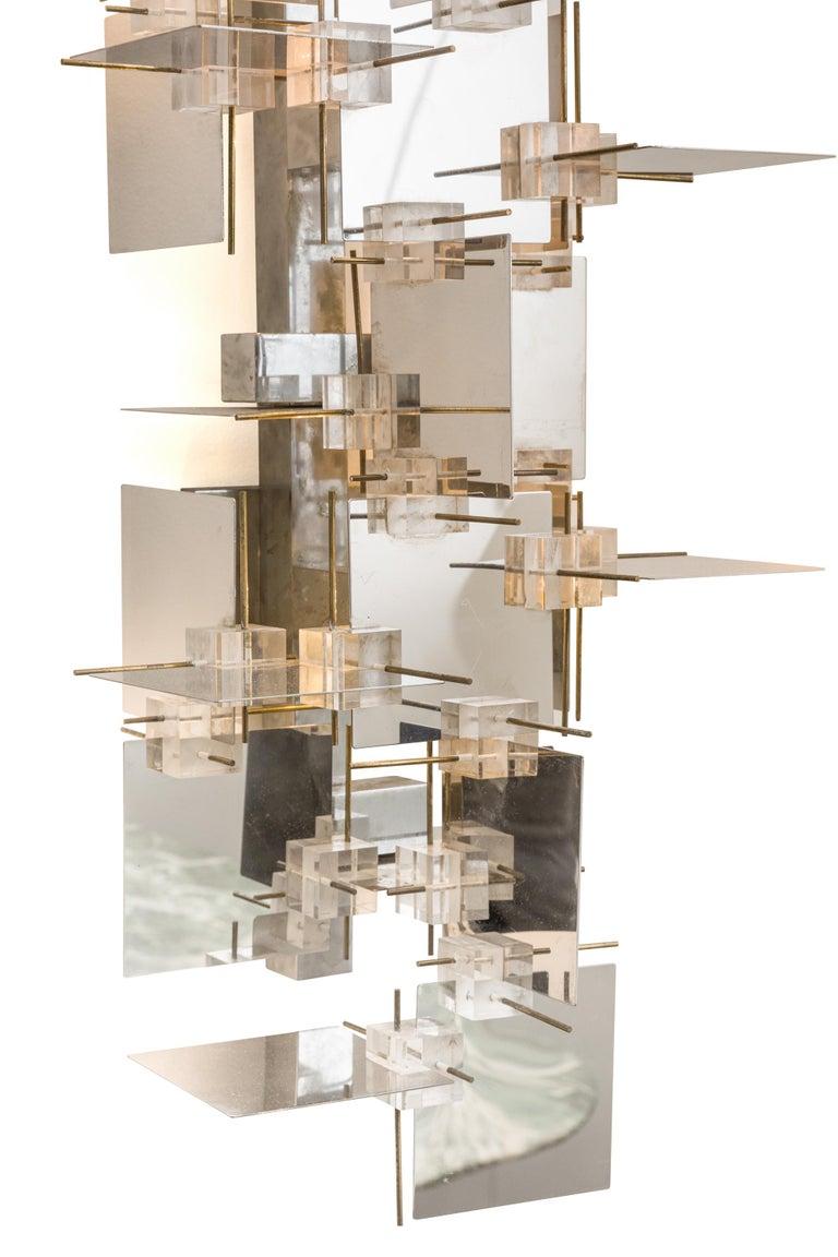 Italian Gaetano Sciolari Chrome Panel and Lucite Cube Geometric Sconces, Italy 1960s For Sale