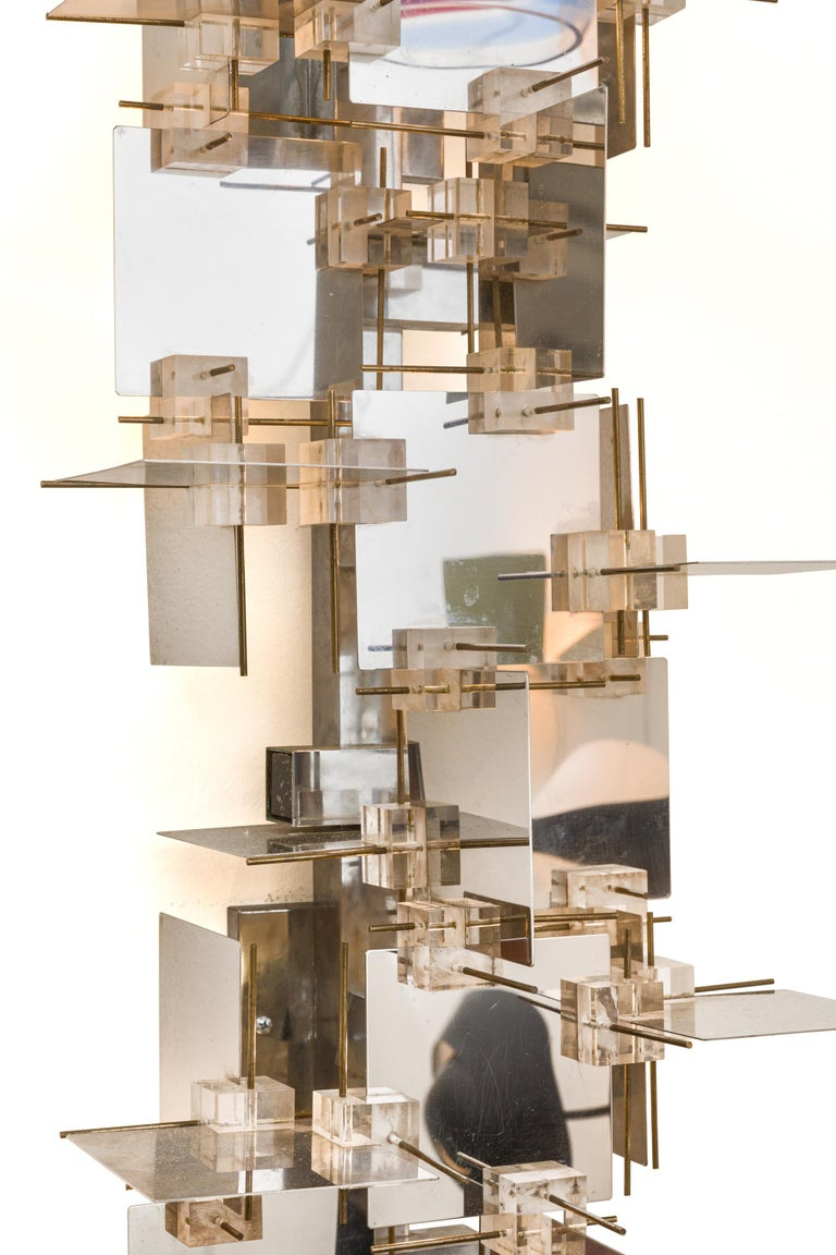 Gaetano Sciolari Chrome Panel and Lucite Cube Geometric Sconces, Italy 1960s In Good Condition For Sale In New York, NY