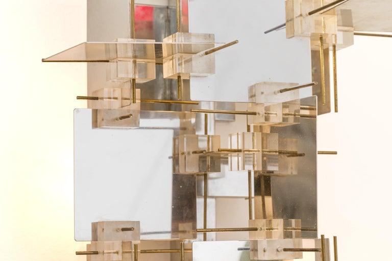 Mid-20th Century Gaetano Sciolari Chrome Panel and Lucite Cube Geometric Sconces, Italy 1960s For Sale