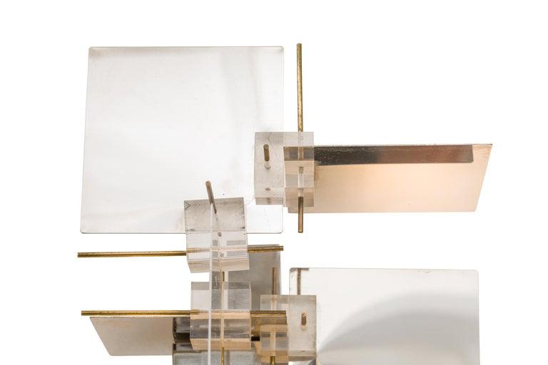 Brass Gaetano Sciolari Chrome Panel and Lucite Cube Geometric Sconces, Italy 1960s For Sale