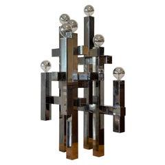 Gaetano Sciolari Cityscape Table Lamp, Polished Metal, 1970s