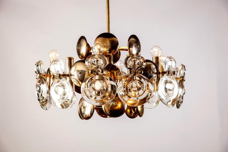 Gaetano Sciolari Fabulous Brass and Glass Lens Chandelier, Italy, 1960s For Sale 5
