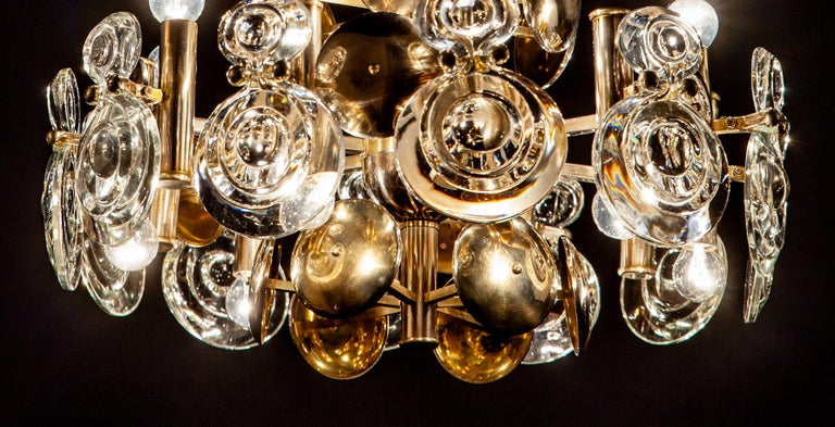 Gaetano Sciolari Fabulous Brass and Glass Lens Chandelier, Italy, 1960s For Sale 8