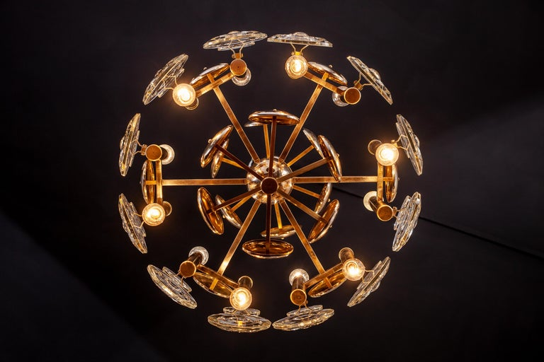 Gaetano Sciolari Fabulous Brass and Glass Lens Chandelier, Italy, 1960s For Sale 13