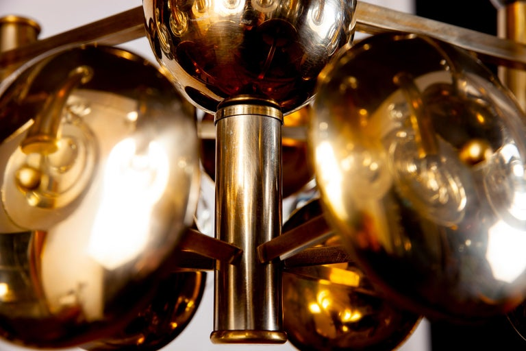 Mid-Century Modern Gaetano Sciolari Fabulous Brass and Glass Lens Chandelier, Italy, 1960s For Sale