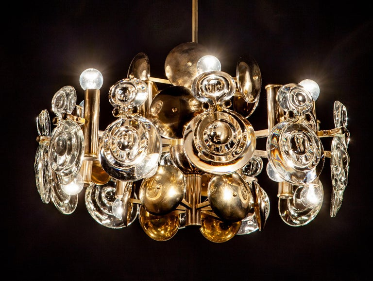 Italian Gaetano Sciolari Fabulous Brass and Glass Lens Chandelier, Italy, 1960s For Sale