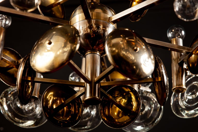 Gaetano Sciolari Fabulous Brass and Glass Lens Chandelier, Italy, 1960s For Sale 2