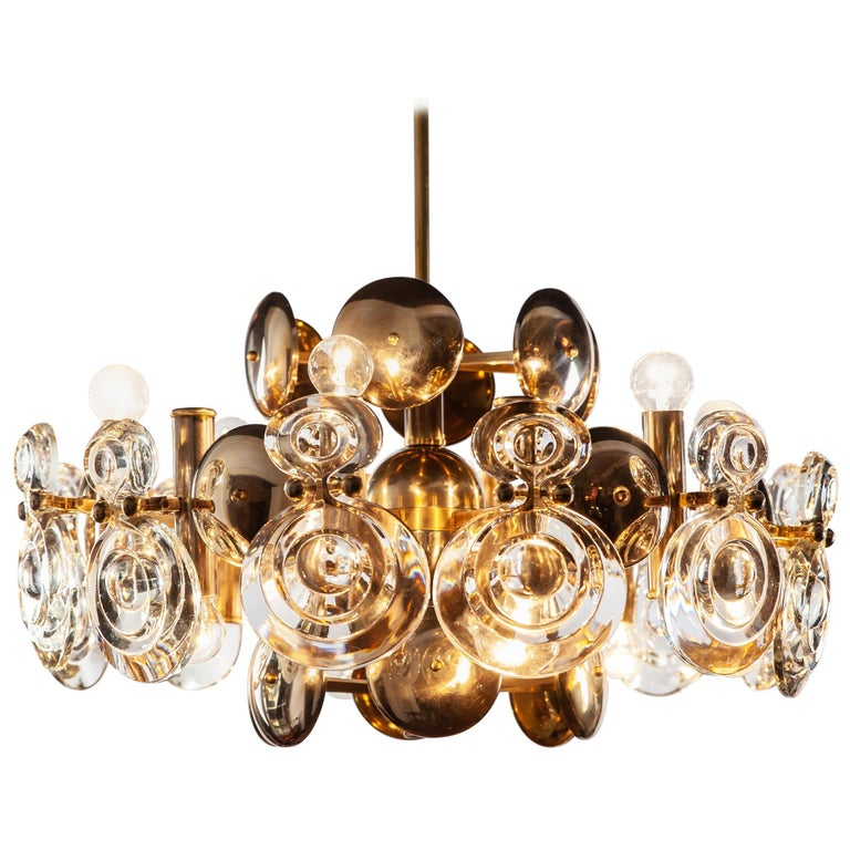 Gaetano Sciolari Fabulous Brass and Glass Lens Chandelier, Italy, 1960s For Sale