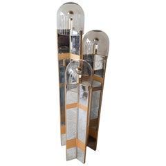 Gaetano Sciolari Floorlamp Chrome Plated and Brushed Aluminium with Murano Glass