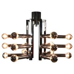 Gaetano Sciolari Flush Mount 18-Light Lamp Chromed Brass, Italy, 1970s