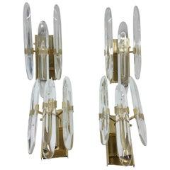 Gaetano Sciolari Four Mid-Century Modern Brass and Glass Wall Sconces 1960