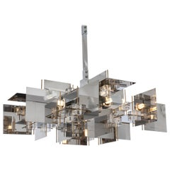 Gaetano Sciolari Geometric Chrome Panel and Lucite Cube Chandelier, Italy, 1960s