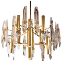 Gaetano Sciolari, Gold Brass and Lucite Midcentury Chandelier for Stilkronen