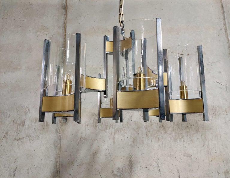 Brass Gaetano Sciolari Hurrican Chandelier, 1970s For Sale