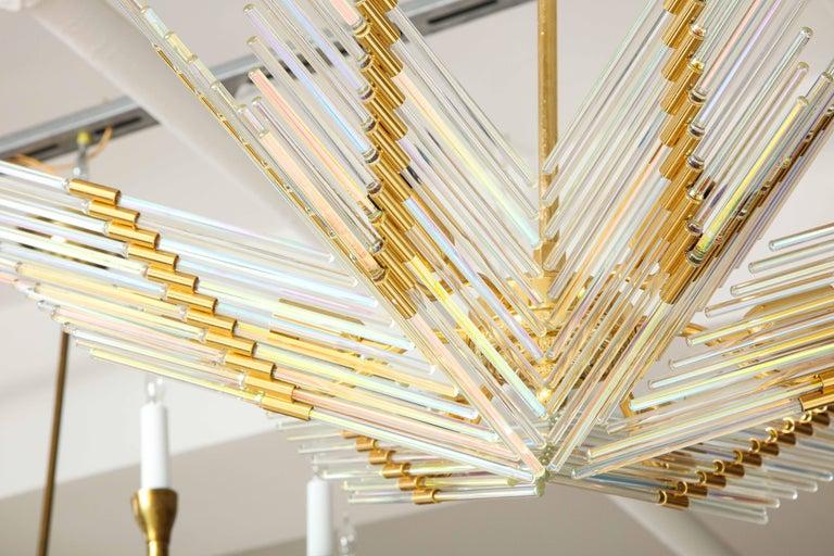 Gaetano Sciolari Iridescent and Gold Plated Chandelier For Sale 4