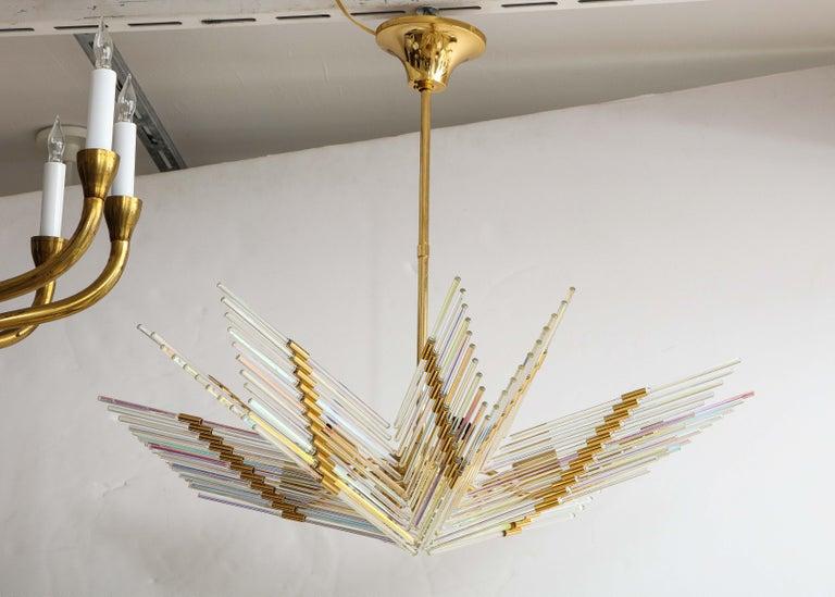 Mid-Century Modern Gaetano Sciolari Iridescent and Gold Plated Chandelier For Sale