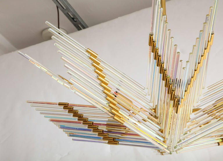 Gaetano Sciolari Iridescent and Gold Plated Chandelier In Good Condition For Sale In New York, NY