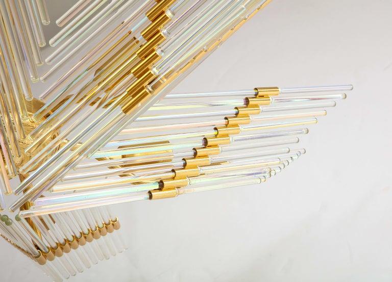 20th Century Gaetano Sciolari Iridescent and Gold Plated Chandelier For Sale