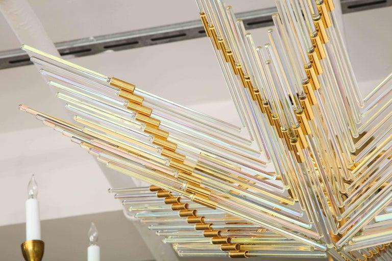 Gaetano Sciolari Iridescent and Gold Plated Chandelier For Sale 1