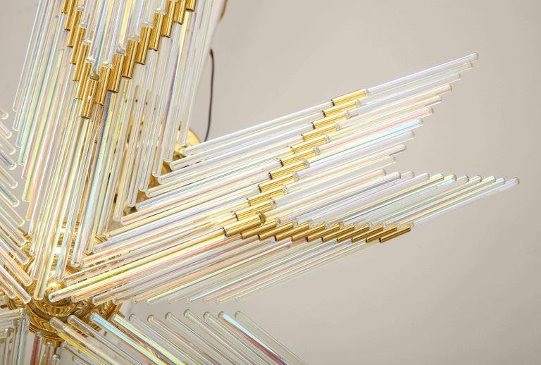 Gaetano Sciolari Iridescent and Gold Plated Chandelier For Sale 3