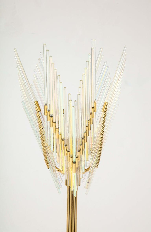 Gaetano Sciolari Iridescent and Gold Plated Standing Lamp For Sale 3