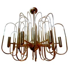 Gaetano Sciolari Italian Brass and Glass Chandelier